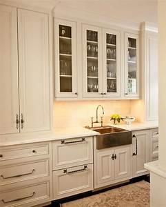 Copper apron sink transitional kitchen cantley and for Kitchen colors with white cabinets with bronze fish wall art