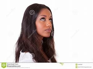 Young Beautiful Black Woman Looking Up Stock Image