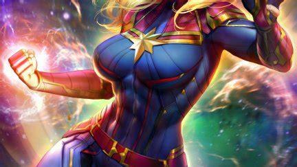 Captain Marvel, women, fantasy girl, blonde, blue eyes ...