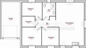 plan maison plain pied 3 chambres chambre de 2 newsindoco With plan maison plein pied 100m2