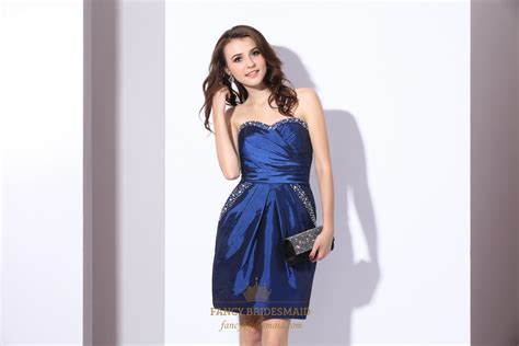 Royal Blue Strapless Taffeta Party Dress With Beaded