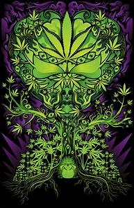 Marijuana love tree poster and t-shirt - Andrei Verner