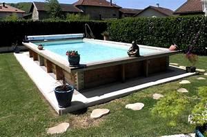 Piscine En Acier : piscine acier et bois rectangulaire 8m x 4m ~ Melissatoandfro.com Idées de Décoration