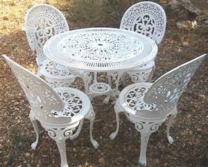 Table De Jardin En Fer : salon de jardin rocaille blanc immitation fonte no fer forg ~ Teatrodelosmanantiales.com Idées de Décoration