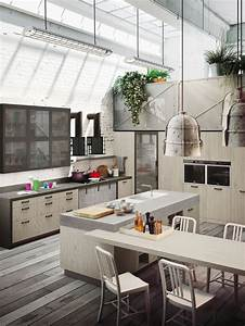 Industrial, Loft, Kitchen, With, Light, Wood, In, Design
