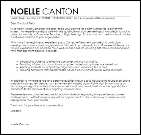 computer cover letter sle livecareer
