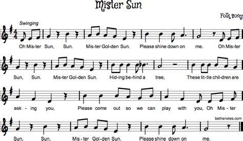 Mister Sun Beths Notes