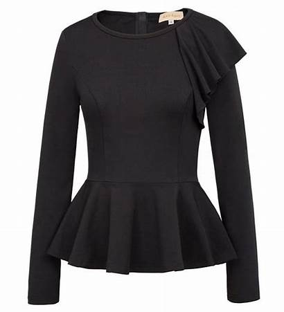 Peplum Shirt Sleeve Tops Side Ruffle Cowl