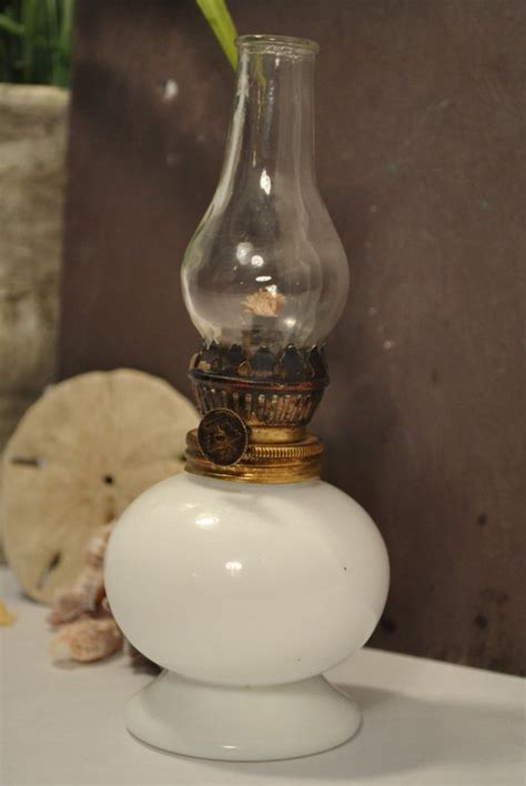 vintage miniature milk glass oil lamp