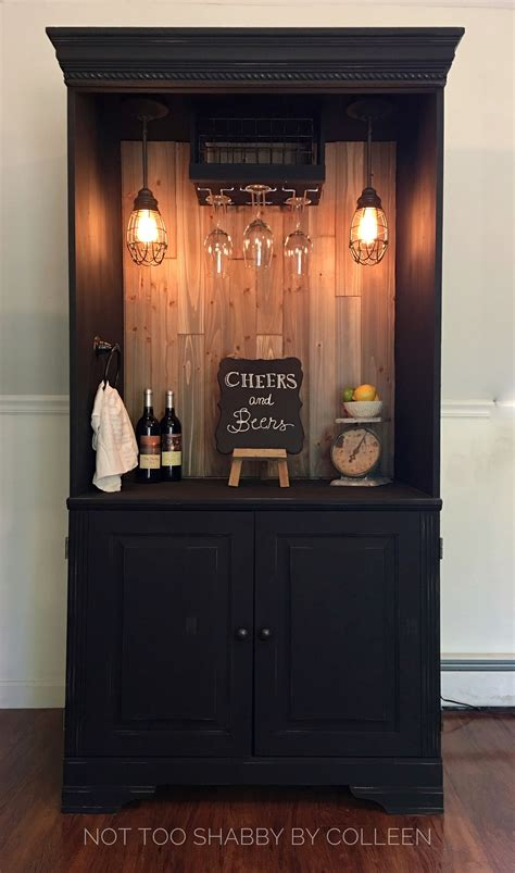 upcycled repurposed armoire converted   dry bar