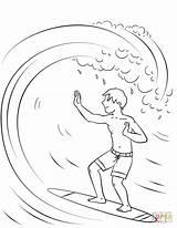 Coloring Surfing Boy Printable Santa Wave Surfen Riding Fearless Malvorlagen Popular Malvorlage Mehr Template sketch template