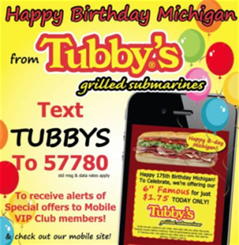 88129 Happy Joes Coupons Printable by Tubby S Subs 1 75 Subs Today Only Michigan