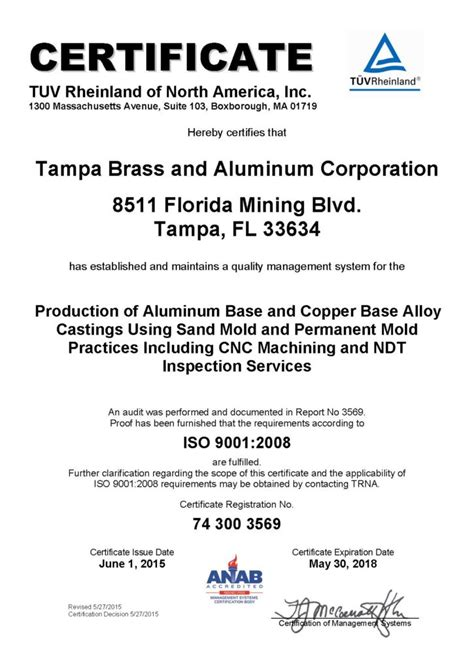 certifications tampa brass aluminum corporation