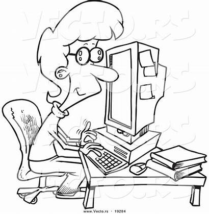 Working Computer Coloring Cartoon Businesswoman Outlined Toonaday