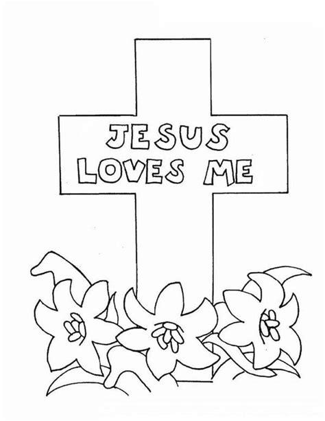 jesus loves  jesus love  cross coloring page