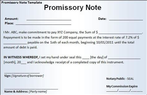 promissory note templates  word templates