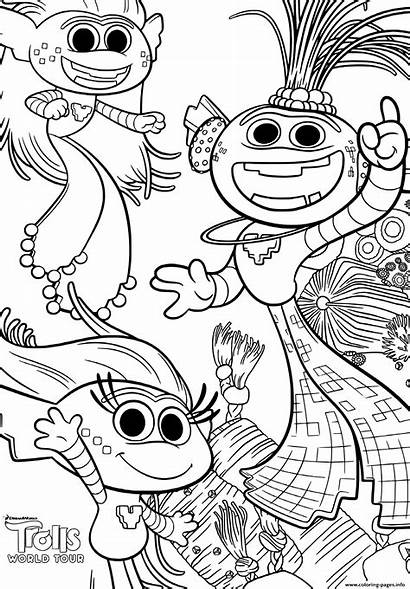 Trolls Coloring Tour Pages Printable Colouring Barb