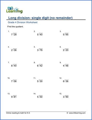 single digit vertical division with regrouping grade 4 division worksheets 2 by 1 digit numbers no