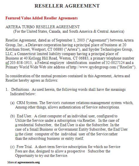 reseller agreement sample reseller agreement template