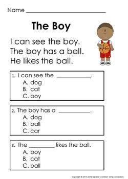 distance learning kindergarten comprehension passages