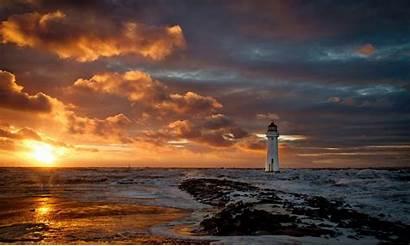Lighthouse Ocean Sea Backgrounds Desktop