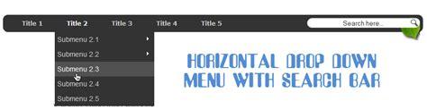 css template top bar create horizontal navigation menu with drop down submenus