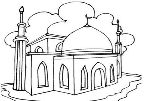 gambar sketsa masjid mudah semburat warna
