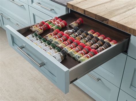 solid wood cabinetry spice storage drawer wood mode custom cabinetry