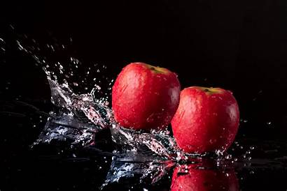 Apples Apple Fruit Water Splashed Being Wallpapers