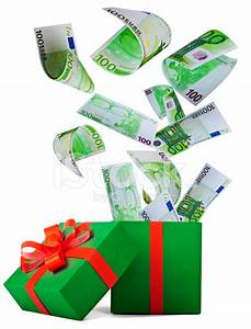 Money for Christmas Gift Box With Banknote of Euro Stock