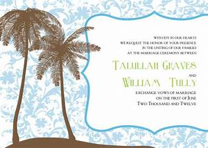 Printable palm tree wedding invitations for Free printable tree wedding invitations