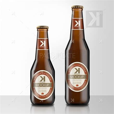 packreate beer bottle psd mockup brown glass