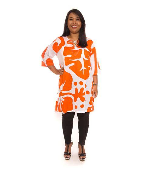 atasan fashion bigsize bali flower orange big size fashion