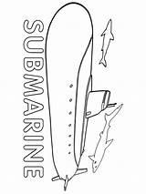 Submarine Coloring Printable sketch template