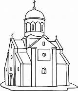 Coloring Church Europe Country Place Tocolor Drawing Template sketch template