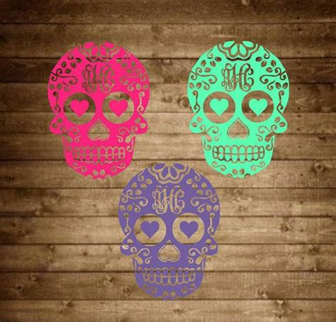 monogram sugar skull decal monogram decal  sapphirepearldesigns skull decal monogram decal