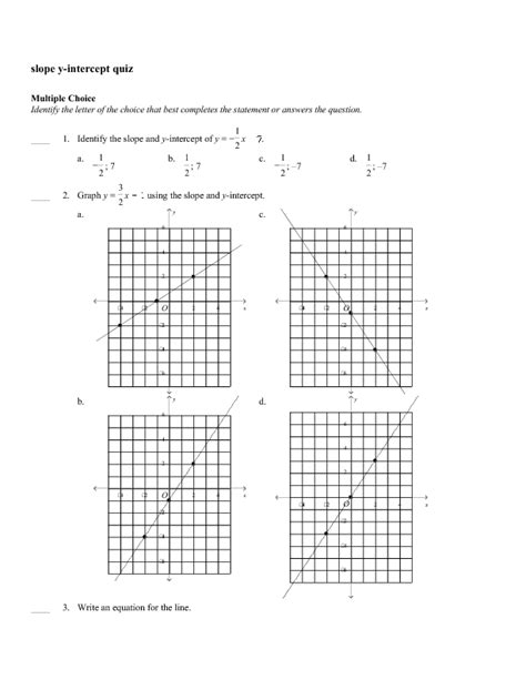 slope and y intercept worksheets with answers elementary