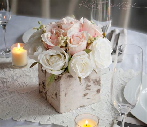 Wedding Centerpiece Rustic Blush And Ivory Rose Wedding