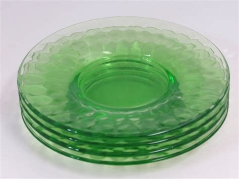 Federal Glass Thumbprint Green Depression Glass Small