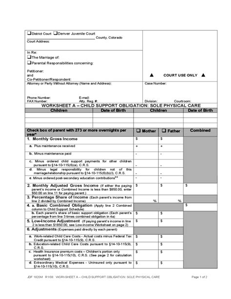 Collection Of Colorado Child Support Worksheet Bluegreenish