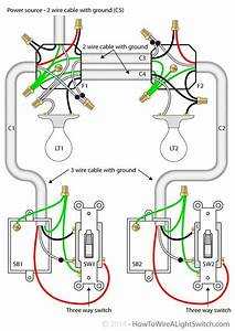Sb2 3 Way Switch 2 Lights Wiring Diagram With Cable With Ground