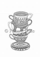 Coloring Pages Colouring Tea Adults Teacups Coffee Doodle Cup Cups Adult Books Etsy Listing Doodles Instant Stacked Sold sketch template