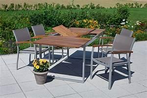 Gartenmöbel Set 5 Teilig Aluminium : merxx gartenm bel set 5 naxos 5 teilig aluminiumprofilrohr mit textilgewebe und akazienholz ~ Bigdaddyawards.com Haus und Dekorationen