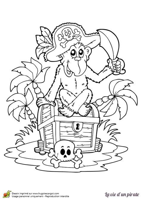 coloriage d un singe pirate assis sur un coffre au tr 233 sor