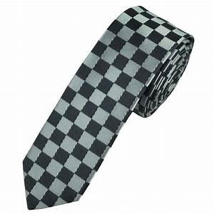 Silver & Grey Checked Skinny Tie from Ties Planet UK