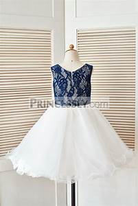 Navy Blue Lace Ivory Tulle Curly Hem Flower Girl Dress ...