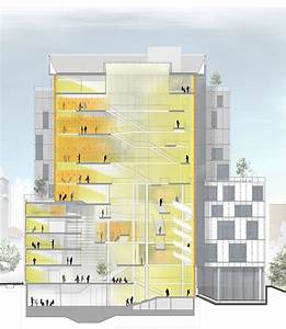 Building Section Showing Interior Daylit Atrium
