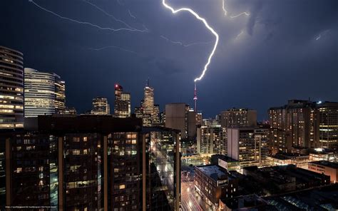 wallpaper city lightning view free