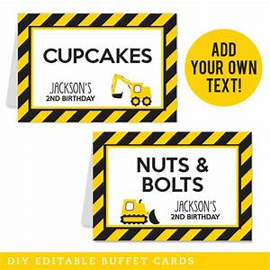 Construction Party Editable Buffet Cards (INSTANT DOWNLOAD)