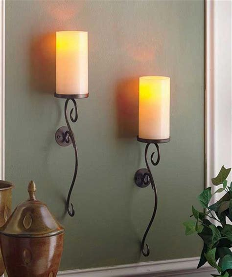 set of 2 led flameless candle scrolled wall sconces ivory